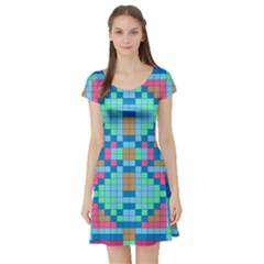 Checkerboard Squares Abstract Short Sleeve Skater Dress