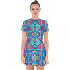 Checkerboard Squares Abstract Drop Hem Mini Chiffon Dress by Pakrebo