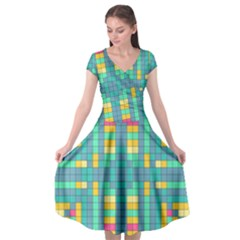 Checkerboard Squares Abstract Cap Sleeve Wrap Front Dress