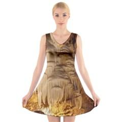 Caverns Rock Formation Cave Rock V Neck Sleeveless Dress by Pakrebo