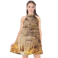 Caverns Rock Formation Cave Rock Halter Neckline Chiffon Dress  by Pakrebo