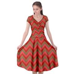 Background Retro Red Zigzag Cap Sleeve Wrap Front Dress by Pakrebo