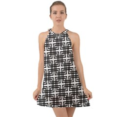 Pattern Vector Halftone Wallpaper Halter Tie Back Chiffon Dress by Pakrebo
