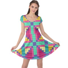 Checkerboard Squares Abstract Cap Sleeve Dress by Pakrebo