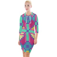 Checkerboard Squares Abstract Quarter Sleeve Hood Bodycon Dress by Pakrebo