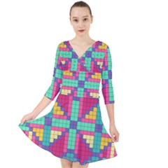 Checkerboard Squares Abstract Quarter Sleeve Front Wrap Dress