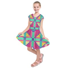 Checkerboard Squares Abstract Kids  Short Sleeve Dress