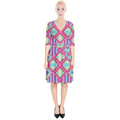 Checkerboard Squares Abstract Wrap Up Cocktail Dress