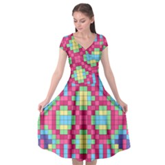 Checkerboard Squares Abstract Cap Sleeve Wrap Front Dress by Pakrebo