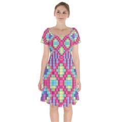 Checkerboard Squares Abstract Short Sleeve Bardot Dress