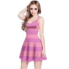Pink Stripes Striped Design Pattern Reversible Sleeveless Dress by Pakrebo