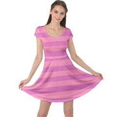 Pink Stripes Striped Design Pattern Cap Sleeve Dress by Pakrebo