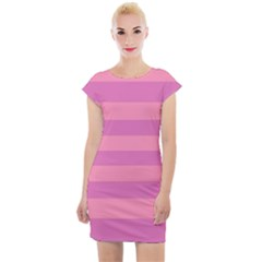 Pink Stripes Striped Design Pattern Cap Sleeve Bodycon Dress by Pakrebo