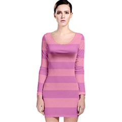 Pink Stripes Striped Design Pattern Long Sleeve Velvet Bodycon Dress by Pakrebo