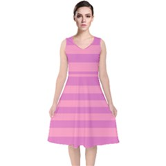 Pink Stripes Striped Design Pattern V-neck Midi Sleeveless Dress  by Pakrebo