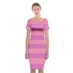 Pink Stripes Striped Design Pattern Classic Short Sleeve Midi Dress by Pakrebo