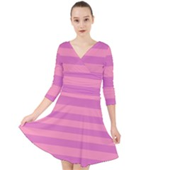 Pink Stripes Striped Design Pattern Quarter Sleeve Front Wrap Dress by Pakrebo