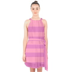 Pink Stripes Striped Design Pattern Halter Collar Waist Tie Chiffon Dress by Pakrebo