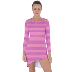 Pink Stripes Striped Design Pattern Asymmetric Cut-out Shift Dress by Pakrebo