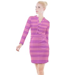 Pink Stripes Striped Design Pattern Button Long Sleeve Dress by Pakrebo