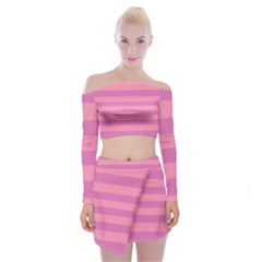 Pink Stripes Striped Design Pattern Off Shoulder Top With Mini Skirt Set by Pakrebo