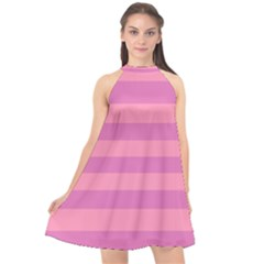 Pink Stripes Striped Design Pattern Halter Neckline Chiffon Dress