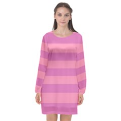 Pink Stripes Striped Design Pattern Long Sleeve Chiffon Shift Dress  by Pakrebo