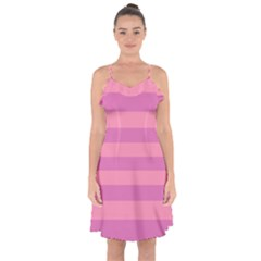 Pink Stripes Striped Design Pattern Ruffle Detail Chiffon Dress by Pakrebo