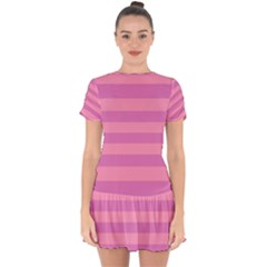 Pink Stripes Striped Design Pattern Drop Hem Mini Chiffon Dress by Pakrebo