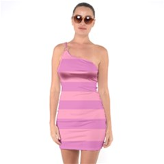 Pink Stripes Striped Design Pattern One Soulder Bodycon Dress by Pakrebo