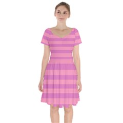 Pink Stripes Striped Design Pattern Short Sleeve Bardot Dress