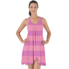 Pink Stripes Striped Design Pattern Show Some Back Chiffon Dress by Pakrebo