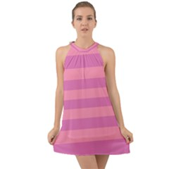 Pink Stripes Striped Design Pattern Halter Tie Back Chiffon Dress by Pakrebo