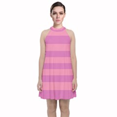 Pink Stripes Striped Design Pattern Velvet Halter Neckline Dress  by Pakrebo