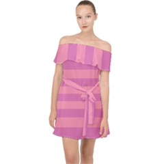 Pink Stripes Striped Design Pattern Off Shoulder Chiffon Dress by Pakrebo