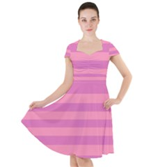 Pink Stripes Striped Design Pattern Cap Sleeve Midi Dress by Pakrebo