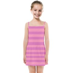 Pink Stripes Striped Design Pattern Kids  Summer Sun Dress by Pakrebo
