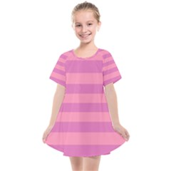 Pink Stripes Striped Design Pattern Kids  Smock Dress by Pakrebo