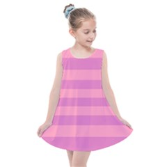 Pink Stripes Striped Design Pattern Kids  Summer Dress by Pakrebo
