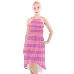 Pink Stripes Striped Design Pattern High-low Halter Chiffon Dress  by Pakrebo