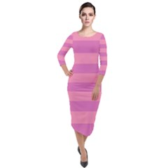 Pink Stripes Striped Design Pattern Quarter Sleeve Midi Velour Bodycon Dress by Pakrebo