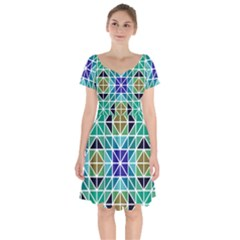 Mosaic Triangle Symmetry Short Sleeve Bardot Dress