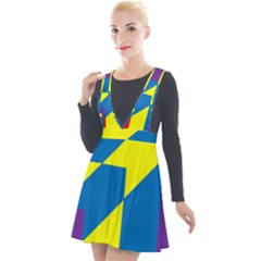 Colorful Red Yellow Blue Purple Plunge Pinafore Velour Dress by Pakrebo