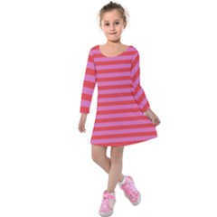 Stripes Striped Design Pattern Kids  Long Sleeve Velvet Dress