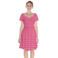 Stripes Striped Design Pattern Short Sleeve Bardot Dress