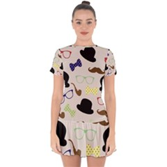Moustache Hat Bowler Bowler Hat Drop Hem Mini Chiffon Dress