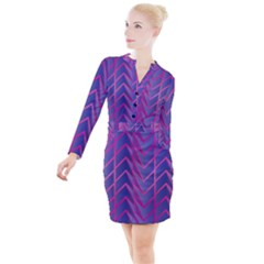 Geometric Background Abstract Button Long Sleeve Dress