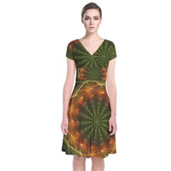 Fractal Digital Short Sleeve Front Wrap Dress