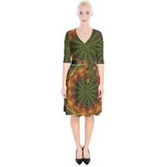 Fractal Digital Wrap Up Cocktail Dress