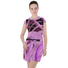 Purple Fractal Artwork Feather Drawstring Hooded Dress by Pakrebo